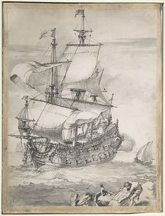 """A Frigate at Sea"", by Pierre Puget, (Château Follet 1620–1694 Fougette). A sailing ship's drawing of a rare beauty. Date: 17th century Medium: Pen and black ink, gray wash, brown ink, over black chalk, on vellum. Mounted on boa"