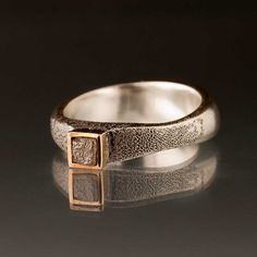 Rough Diamond Cube Ring with14k Gold by Nodeform