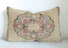 Natural Ecru Kilim Lumbar Pillow 60x40 cm
