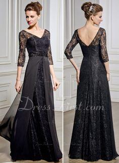 A-Linie/Princess-Linie V-Ausschnitt Bodenlang Chiffon Spitze Kleid für die Brautmutter mit Perlen verziert Pailletten (008057067) - DressFirst