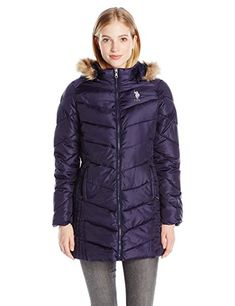 INTL d.e.t.a.i.l.s Womens Thigh-Length Puffer Jacket with Sweatshirt Bib