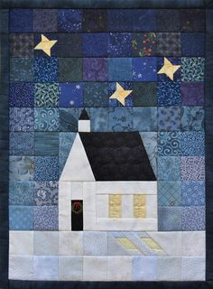 O Holy Night Quilt Pattern House Quilt Patterns, House Quilt Block, House Quilts, Barn Quilts, Quilt Blocks, Mini Quilts, Small Quilts, France Patchwork, Diy Quilt