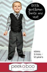 The Little Gentleman Pants & Vest by Peek A Boo Pattern Shop Sizes 3m-8