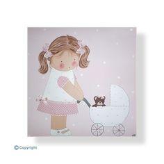 Cuadros infantiles personalizados con el nombre-Niña con su cochecito