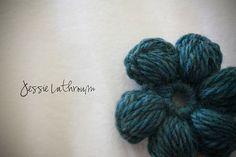 Crochet Puff Stitch Flower for headband/ear warmer