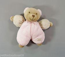 Doudou ours vichy rose et marron Tartine et Chocolat 26 cm