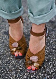 Gem stone shoes