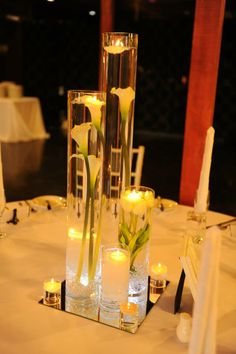 Cylinder Arrangement Centrepiece with LED Lights - by Toowoomba White Wedding and Event Hire, Weddings, Parties, Corporate Functions {Toowoomba, Surrounding Areas}