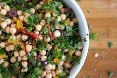 Great summer salad - Chickpea Salad with a garlic lemon olive oil dressing and lots of roasted peppers and parsley.