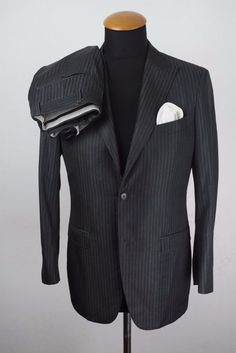 Canali Milano Mens Suit size 36S 36R Wool Grey Striped W31 L29 L30 L32 gr. 46  in Clothes, Shoes & Accessories, Men's Clothing, Suits & Tailoring | eBay!