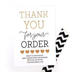 thank you for your order shop owner thank you cards by paperelli