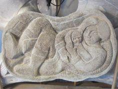 Matt Caines - Stone Carving - Found Blue Whalebone carving detail 1