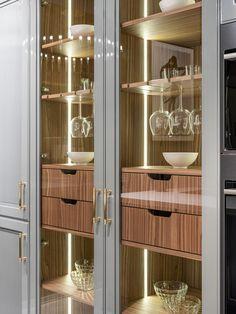Modern Grey Kitchen, Modern Kitchen Design, Best Modern House Design, Contemporary Interior Design, Kitchen Room Design, Interior Design Kitchen, Vitrine Design, Pooja Room Design, Coffee Bar Home