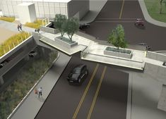 An upcoming presentation to Metro's Westside/Central Service Council has revealed a new look for the pedestrian bridge in Downtown Los Angeles that will link the Metro's future Station to the Broad Museum's outdoor plaza. Pedestrian Crossing, Pedestrian Bridge, The Broad Museum, Downtown Los Angeles, Green Building, Urban Design, Facade, Studio, Architecture
