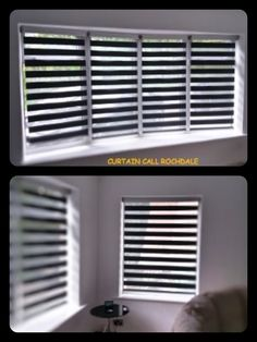 Quality fitted Vision Blinds into bay window. Grey colour