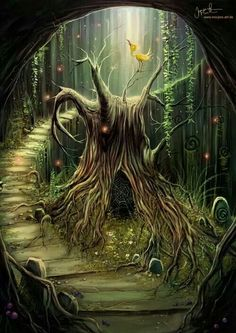 Fantasy art tree in enchanted forest