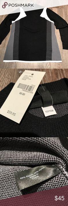 Lane Bryant Color Block Sweater NWT Lane Bryant black, grey, and white sweater. High neck, size 18/20 Lane Bryant Sweaters Cowl & Turtlenecks
