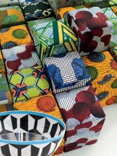 African textile pouffs -love the bold graphic prints.