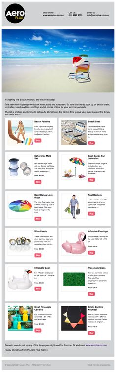 <p><a href=&quot;/pin/211317407491605589/&quot;></a>Bulk email tools are ok but better results can be achieved when you integrate your sent emails with your website database. Here is one we made for Aero Plus which has products from their on-line shop. As with everything we do, this happens automatically when Send is clicked. No typing or formatting of the products is required.</p>