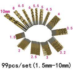 높은 품질의 최신 99 개/대 티타늄 코팅 HSS 고속 강철 드릴 비트 세트 도구 1.5 미리메터-10 미리메터