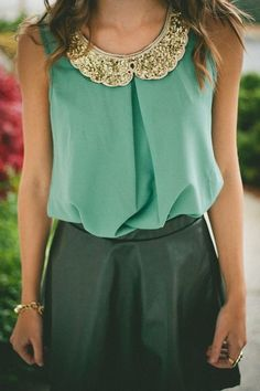 light blue chiffon blouse w/ gold sequin collar & black leather skirt