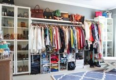 A trip to IKEA is all you need to create an entire closet in your spare bedroom. #HomeDecor #DreamCloset