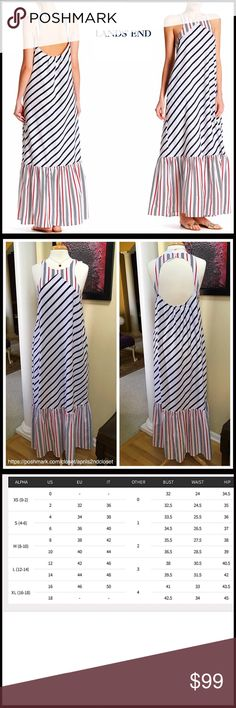 """❗️1-HOUR SALE❗️LAND'S END Printed Maxi Dress LAND'S END Printed Maxi Dress   SIZING-Tagged M = 8-10  COLOR- Deep Sea, Red, White Combo  ABOUT THIS ITEM * Crew Neck; 2 on seam pockets   * Striped print w/a vintage nautical look * Back double button closure & elastic back * Approx 61"""" long * Cutout back & ruffle hem details * Subtle A-line silhouette  FABRIC cotton, 30% silk      ❌NO TRADES❌ ✅BUNDLE DISCOUNTS ✅ OFFERS CONSIDERED (Via the offer button only)  ITEM#FP SEARCH WORDS # slip dress…"""