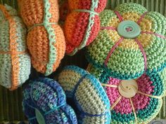 Crocheted pin cushions.... gorgeous!