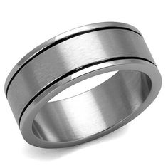 Classic Stainless Steel & Black Ring. Perfect for Wedding Band or Gift. - Ring in Stainless Steel/Platinum/Black - Free Shipping USA - Easy Exchanges/Returns - Gift Box