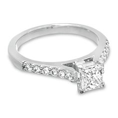 1 CT. T.W. Certified Colorless Princess Cut Diamond Solitaire Engagement Ring in 18K White Gold - Zales