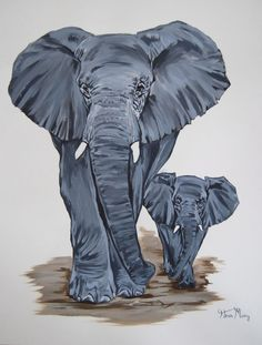 """""""Adventuring together"""" by Hiten Mistry. This original acrylic painting of two elephants comes from Hiten's collection on FineArtSeen. A great addition for animal lovers, this painting would also work well in a nursery or children's bedroom. Click to view more art at great prices from the Home Of Original Art. << Pin For Later >>"""