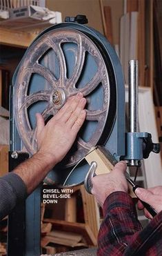 Bandsaw Tire True-Up Q: How can I fix a bandsaw tire with irregularities that bump the blade? I'm getting a lot of side-to-side movement with the blade. A: Truing the hard rubber tire that goes around the rim of each bandsaw wheel should solve your problem. There are several ways to do this, but the one I like to use comes from my turning background. First, unplug your saw and … #BestWoodworkingBandsaw Bandsaw Projects, Easy Woodworking Projects, Popular Woodworking, Woodworking Techniques, Woodworking Outdoor Furniture, Woodworking Bandsaw, Woodworking Tools, Woodworking Apron, Woodworking Patterns