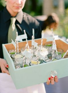 Wow!!! LOVE the idea of servers standing in front of SF with our sig mason jar drinks with wooden boxes!!!
