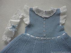 TRICO y CROCHET-madona-mía: Vestido Azul para niñas a crochet con esquema de p...