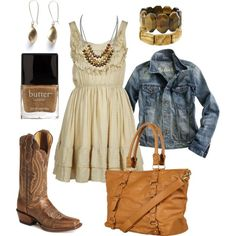 Country girl style - got the boots and the jacket.. need a cute dress and bag!