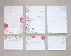 #Inspiration // Stunning floral watercolor wedding invite /stationery set by Yao Cheng / #flowers
