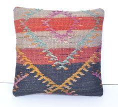 16x16'Handmade Turkish Kilim Pillow Cover Handmade Throw Pillow Handmade Turkish Pillow Handmade Decorative Pillow Handmade Kilim Cushion