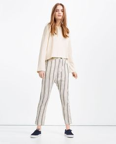 Image 1 of STRIPED BAGGY TROUSERS from Zara