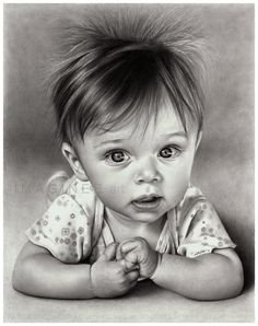 Hyper-realistic Drawings. This drawing of baby Kaia is one of Linda's favourites. She drew it using Strathmore Smooth Bristol and an H, B, and 3B mechanical pencil. This drawing took about 60 hrs.
