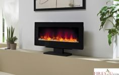 Free Standing Wall Mounted Electric Fireplace Wide Flame Effect Fire Heater
