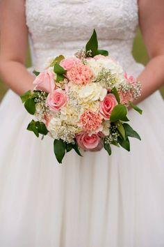 DIY handmade bridal bouquet- pink roses white hydrangea pink carnation