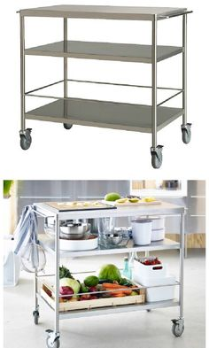 Get organized with FLYTTA kitchen cart! Gives you extra storage, utility and work space. The rails can be used for hanging towels or used with GRUNDTAL S-hooks for convenient storing of utensils.