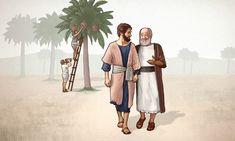 Um idoso e um jovem andam juntos perto de uma tamareira