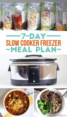 Looking for easy and healthy dinner ideas? Here's a free 7-day slow cooker freezer meal plan w/ printable recipes, a grocery list, & labels for your meals. | http://www.thirtyhandmadedays.com