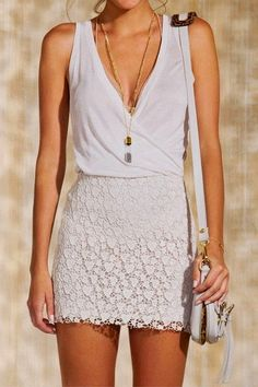 casual summer outfit with beautiful lace skirt