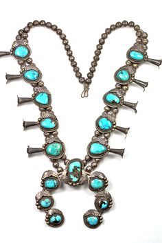 Vintage Southwestern Tribal Sterling Silver & Turquoise Squash Blossom Necklace