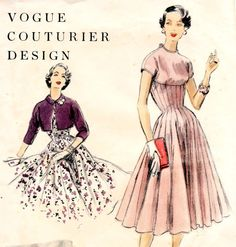 Vintage 1950s dress and bolero sewing pattern  by glassoffashion, $73.99