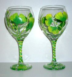 Painted Wine Glasses Ginkgo Leaves Hand by SharonsCustomArtwork, $40.00