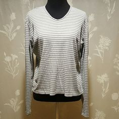J Crew grey striped shirt Good condition. Small hole from tag (see photo). Very soft and comfortable. Stretchy. J Crew Tops
