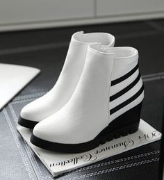 Women new fashion spring autumn stripe 6.5cm heels wedges pointed toe boots  short casual shoes